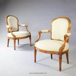 PAIR OF LOUIS XV FAUTEUILS ARMCHAIRS STAMPED N S COURTOIS FRENCH ANTIQUES