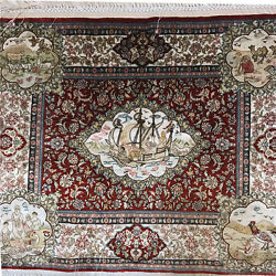 1000 Lines 1'x0.8' Handknotted Silk Persian Rug Voyage Pictorial Tapestry LS016