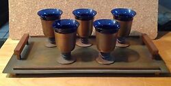 Walter Von Nessen  Machine Age Cocktail Cups  Art Deco Cobalt Blue GlassCopper