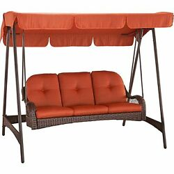 Outdoor Porch Swing With Canopy Cushion 3 Person Wicker Cradle  Patio Furniture