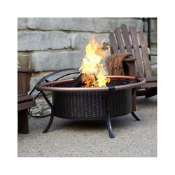 Copper Fire Pit Bowl Outdoor Firepit Deck Furniture Patio Bronze Wood Burning