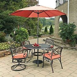 7 Pc Outdoor Dining Table 2 Arm Chairs 2 Swivel Rocking Chairs With Cushions