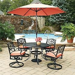 Black Round 7 Pc Outdoor Dining Table 4 Swivel Rocking Chairs With Cushions
