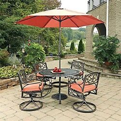 Rust Bronze Round 7 Pc Outdoor Dining Table 4 Swivel Rocking Chairs W Cushions
