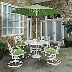 White Round 7 Pc Outdoor Dining Table 4 Swivel Rocking Chairs With Cushions