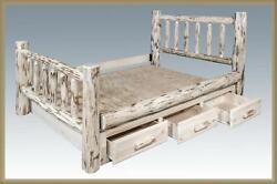 KING Storage Bed with Drawers - Rustic Log Cabin Style Amish Made Furniture