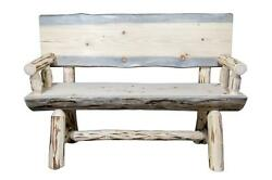 Rustic Outdoor Log Bench REAL LOG Benches With Back and Arms PINE 4ft Amish Made