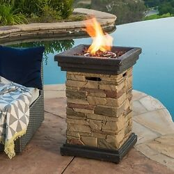 Outdoor Propane Fire Pit 19-inch Column Lava Rocks Gas Pool Patio Warm Fireplace