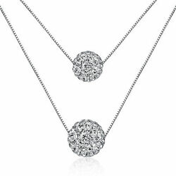925 Sterling Silver Natural Crystal Ball Bead Pendant Necklace Women Jewelry
