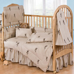 BROWNING BUCKMARK TAN & BROWN CAMOUFLAGE BABY CRIB BEDDING - 6PC