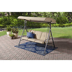 Outdoor 3-Person Hammock Swing Outdoor Patio Furniture Deck Yard Canopy Cushion