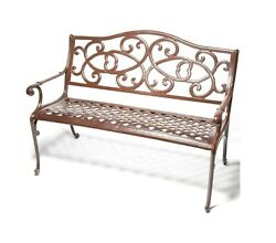 New 48.8 x 26.8 x 35 inches Powder-Coated Wisteria Garden Bench Glossy Brown