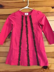 *HANNA ANDERSSON* Girls Pink Dress with Brown Ruffles Down the Front Sz 110 5-6
