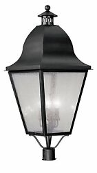 Livex Lighting 2554-04 Outdoor Post with Seeded Glass Shades Black 16