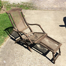 Turn of the Century Rare Antique Vtg Wood Folding Chase Lounge Beach Patio Chair