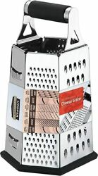 Cheese Grater Vegetable Slicer Stainless Steel 6 Sides 9.5