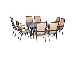 Hanover Manor 9-Piece Outdoor Dining Set with Large Square Table