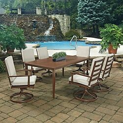 Key West 7 Pc. Rectangular Outdoor Dining Table& 6 Swivel Rocking Chairs by Home