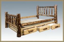 King Storage Bed with Drawers - Amish Made Log Beds - Montana Cabin Furniture