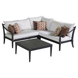 New RST Brands Astoria 4-piece Outdoor Seating Sec & Table Set Moroccan Cream