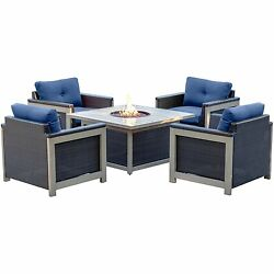 Hanover 5 Piece Fire Pit Chat Set in Tan with 40000 BTU Table Armchair Navy Blu