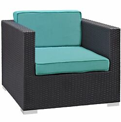 Plutus Brands MF1800 Outdoor Patio Armchair Espresso Turquoise Washable Cushion