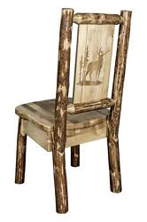 Amish Made Dining Chairs LOG CHAIR Laser Engraved Back Bear Wolf Rustic Western