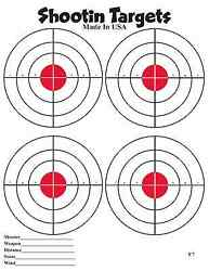 150 4-up Red Bullseye Paper Shooting Targets for hand gun and rifle practice