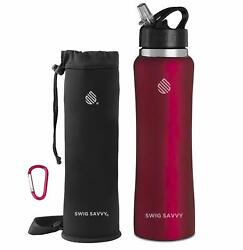 Swig Savvy's Stainless Steel Insulated Water Bottle Wide Mouth 25 Oz