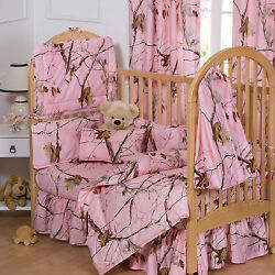 REALTREE AP PINK CAMO CRIB SET CAMOUFLAGE BABY BEDDING 6 PIECES!