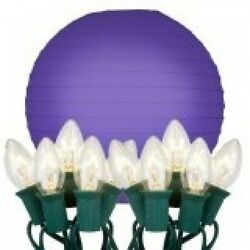 JH Specialties Inc. 24310 String Lights with Paper Lanterns- Purple 10 Count. Hu