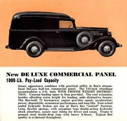 Old Print. 1935 Reo De Luxe Commercial Panel Car Advertisement