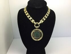 18K YELLOW GOLD WOMEN'S NECKLACE WITH GREEK MEDALLION COIN PENDANT WITH DIAMONDS
