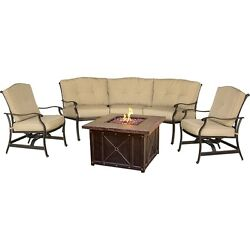 Hanover - Traditions 4-Piece Durastone Fire Pit Set - Natural Oat