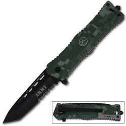 Digital Camo ARMY Tanto Blade Rescue Pocket Knife Assisted Opening Knives $10.31