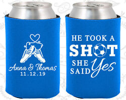 Personalized Wedding Can Coolers Custom (322) He Took A Shot She Said Yes
