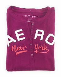 AEROPOSTALE WOMENS LONG SLEEVE HENLEY T-SHIRT BUTTONS APPLIQUE EMBROIDERED LOGO $15.99