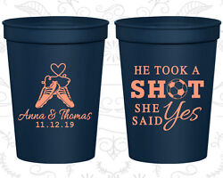 Personalized Wedding Party Cups Custom Cup (322) He Took A Shot She Said Yes