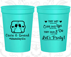 Personalized Plastic Stadium Cups Custom Cup (486) They Met She Said Yes I Do