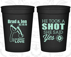 Personalized Cheap Wedding Cups Custom Cup (558) He Took A Shot She Said Yes