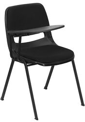 Padded Black Ergonomic Shell Chair with Right Handed Flip-Up Tablet Arm [RUT ...
