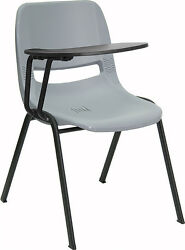 Gray Ergonomic Shell Chair with Right Handed Flip-Up Tablet Arm [RUT-EO1-GY- ...