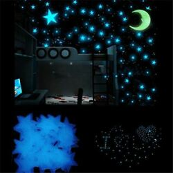 Blue 100 x 3D Home Wall Ceiling Glow In The Dark Stars with Moon Kids Stickers $6.88