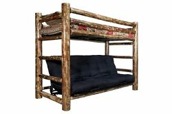 LOG TWIN OVER FUTON Bunk Bed Rustic Lodge Cabin Bedroom Furniture