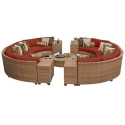 TKC Laguna 11 Piece Outdoor Wicker Sofa Set in Terracotta