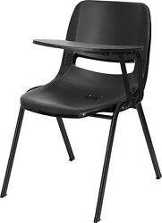 Black Ergonomic Shell Chair with Left Handed Flip-Up Tablet Arm [RUT-EO1-BK- ...