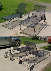 2 Vintage Wrought Iron Patio Chaise Lounger Chairs Pool Furniture NO SHIPPING