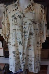 Hawaiian Men's Casual Sail Boats Palm Trees Beach Motif Sz Med 100% Silk