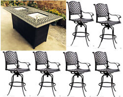 Patio bar set 7pc double burner table 6 Nassau barstools cast aluminum furniture