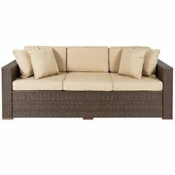 Outdoor Patio Furniture Sofa 3 Seater Luxury Comfort Brown Wicker Couch Tax incl